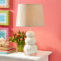 Stacked Sea Urchin Table Lamp with Linen Shade