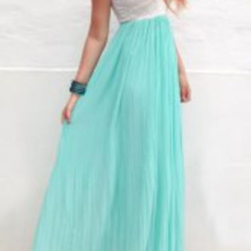 White and Cyan Strapless Sleeveless Pleated Maxi Dress