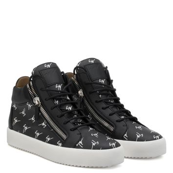 Giuseppe Zanotti Gz The Signature Black Fabric Mid-top Sneaker With White Logo Motif - Best Deal Online
