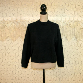 Vintage Black Pullover Sweater Fuzzy Angora Wool Cropped Womens Sweaters Black Sweater Medium Large Chaus 90s Sweater 1990s Vintage Clothing
