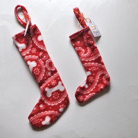 Pet stocking, Stockings for dogs, puppy stocking, Dog bone print stocking, Fleece stocking for puppy, Christmas puppy stocking. Holiday pup.