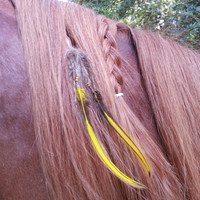 Yellow Feather and Faux Wolf Fur Equine Mane, Tail or Hair Ornament - feathers and fur horse jewelry - American Indian Style Horse Costume