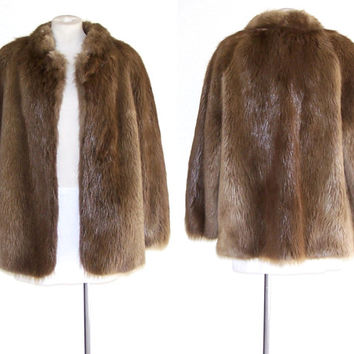 PHILIP REINER 1980s Beaver Fur Jacket Vintage Short Coat  M