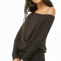 Asymmetrical Ribbed Sweater Dress