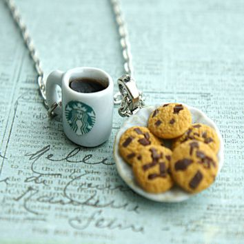 cookies and coffee necklace