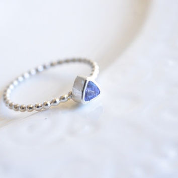 Reserved. Tanzanite Ring - Trillion Cut Ring - Sterling Silver Bezel Ring - Size 7 Ring - Minimalist Ring - Handcrafted Gemstone Ring