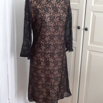 "1960s Lace Cocktail Dress, Illusilon, Low Back, Bow, Black Over Champagne, Sheath, Elinor Gay, Size Medium, 38""B"