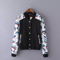Black Fish Pattern Long Sleeves Button Pocket Baseball Jacket