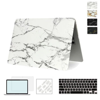 Marble Texture Cover Case For Apple Macbook Air Pro Retina 11 12 13 15 inch For Mac book 11.6 13.3 15.4 Hard Shell Laptop Case