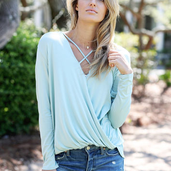Criss Cross Surplice High-Low Top