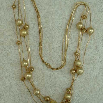 Four Strand Matt Goldtone Bead Necklace Serpentine Chains 30 inches