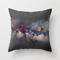 The Milky Way: from Scorpio, Antares and Sagitarius to Scutum and Cygnus Throw Pillow by Guido Montañés | Society6