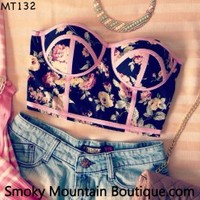 Midriff Bustier Top With Multi Color Floral Pattern Size S/M - MT132 - Smoky Mountain Boutique