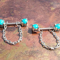 14g Stainless steel Turquoise chained rings (pair)