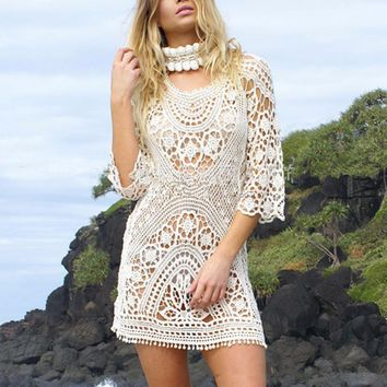 Pareo Beach Cover Up Summer Women Mini Dress Lace Crochet Hollow Out Beach Dress Backless Vestidos Robe De Plage saida de praia