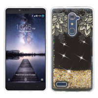 ZTE ZMAX Pro, Grand X Max 2, Blade X Max, ZTE Carry, Imperial Max, Max Duo LTE, Luxury Bling Liquid Glitter Case, Sparkle Quicksand Case - Gold Lace