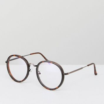 Jeepers Peepers Brown Clear Lens Glasses In Tort at asos.com
