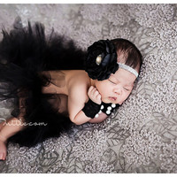Newborn photo prop, newborn tutu set, newborn tutu, newborn wristlets, photography prop, black tutu set, newborn skirt set, photo prop, baby