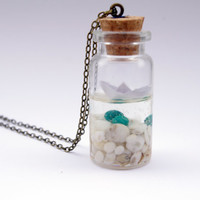 summer in a bottle necklace white boat beach  by QueenAndEye