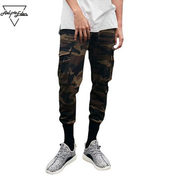Men Jogger Sweatpants Multi-pocket Cargo Pants Man Slim Fit Feet Hip Hop  Pants Wild Casual Pants