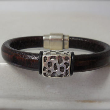 Licorice Leather Bracelet for Men with Leopard Pattern Focal Bead.