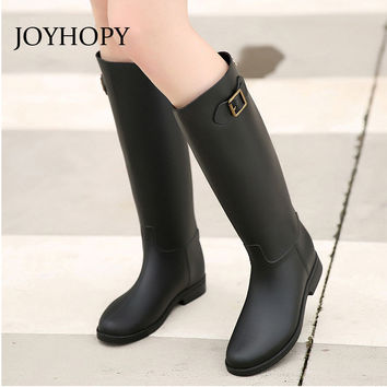JOYHOPY Spring Rainboots Women Knee High Rubber Boots Ladies Rain Shoes Woman Waterproof Wellies Plus Size 36-41 AWB0004