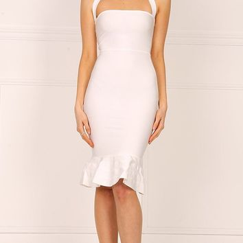 Safe With You White Sleeveless Halter Square Neck Bodycon Bandage Fish Tail Midi Dress