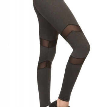 Athletic Leggings With Stylish Mesh Panels