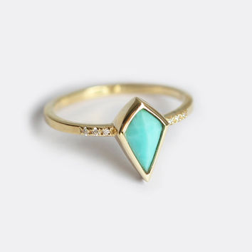 Turquoise Ring, Turquoise Band, Blue Engagement Ring, Diamond Turquoise Band, Turquoise Diamond Ring, Pave Diamond Ring, Engagement Ring
