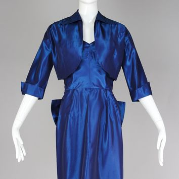 Rare 1940s Jonathan Logan Metallic Blue Taffeta Vintage Designer Cocktail Dress