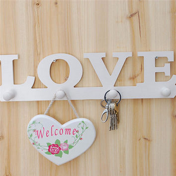 Vintage LOVE Coat Hat Key Holder 4 Hooks Clothes Hat Robe Door Hanger Bathroom Home Decor Hanger