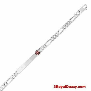 925 Solid Silver Personalized MEDICAL Alert Figaro Link ID Bracelet 6.5 mm 8""