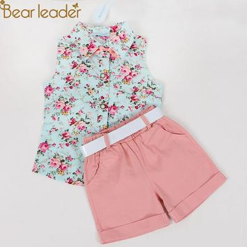 Bear Leader Kids Clothes 2018 Fashion Sleeveless Summer Style Baby  Girls Shirt +Shorts + Belt 3pcs Suit Children Clothing Sets