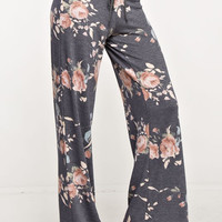 Charcoal Floral French Terry Wide Pants