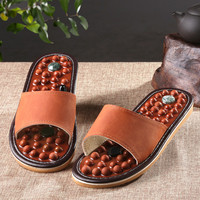 Wooden base acupuncture foot massage slippers