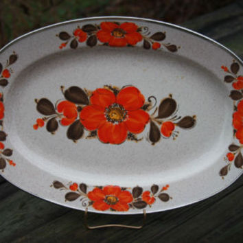Sanko Ware Oval Platter Enameled Japan Flower Pattern Vintage Serving Tray
