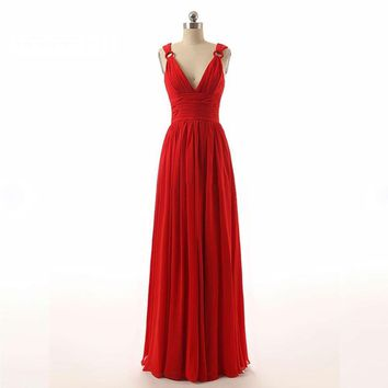 Spring Gown New Arrive Spaghetti Strapless Red Chiffon Sexy Long Evening Dresses