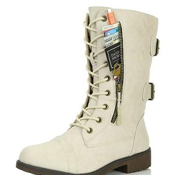 New Beige Round Toe Zipper Lace-up Fashion Boots