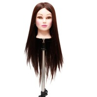 "23"" (Betty) Beauty School Student Cuuting Braiding Practice Cosmetology Mannequin Head Hairrdressing Manikin 80% Real Hair Brown"