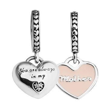 beads for woman Mother & Daughter Hearts Soft Pink Charms fit European bracelets & bangle 925 sterling silver jewelry making
