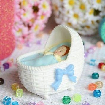 Blue Bassinet with Sleeping Baby Boy Favor Craft DIY Baby Shower Gender Reveal