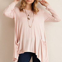Tunic Knit Top with Side Pockets