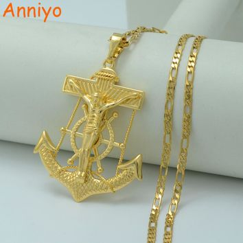 Anniyo Big Jesus Anchor Necklaces for Men/Women Gold Color God Bless Pendant Cross Jewelry Christian Chain #010804