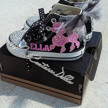 pink poodles in paris theme posh custom converse