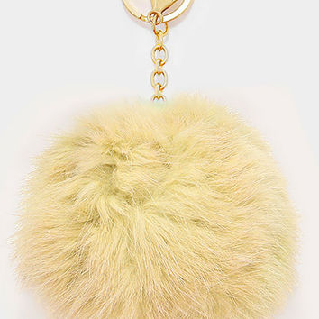 Large Rabbit Fur Pom Pom Keychain, Key Ring Bag Pendant Accessory - Light Gold