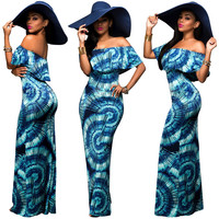 Printed Off Shoulder Bodycon Maxi Dress