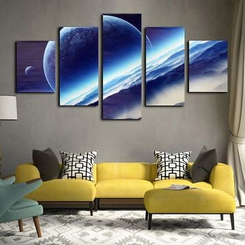 5Pcs Night Sky Interstellar Space Globe Canvas Wall Painting Picture Home Decoration Frameless