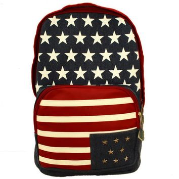 Backpacks for school teenagers girls pu American Flag Pattern Canvas double shoulder bag Rivet Leisure travel bag#LREW