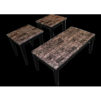 16000L Black Faux Marble End Table