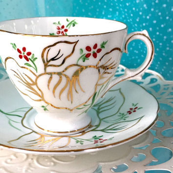 Unique Vintage Tea Cup, Royal Stuart Cup and Saucer, English Tea set, High Tea, Tea Party Hand Painted